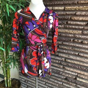 Vintage Psychedelic True Wrap Mini Dress Tunic